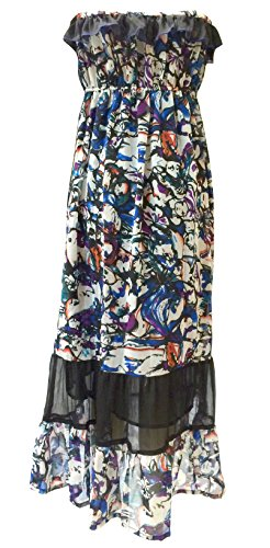 SUNROSE Long Elagant Print Strapless Frilled Dress Tank Top Cover up Maxi