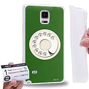 Case88 [Samsung Galaxy Note 4] Gel TPU Carcasa/Funda & Tarjeta de garantía - Art Hand Drawing Green Retro Phone Art2080