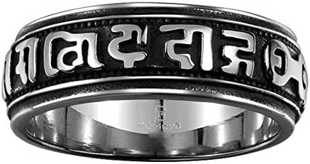 Godyce Tibetan Buddha Ring for Men Size 8-12 - Wide 8mm Titanium Steel With Gift Box