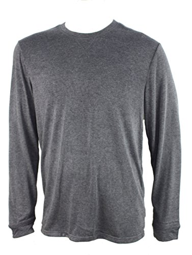 Weatherproof 32 Degrees Mens Crew Neck Long Sleeve Tee Shirt (X-Large, Heather Dark Charcoal)