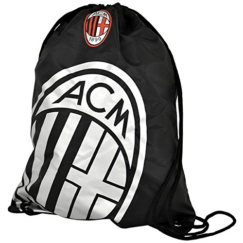AC Milan Official Foil Print Football Crest Gym Bag (One Size) (Ac Milan Shoes)