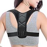Back Posture Corrector for Women & Men, Back Adjustable Brace-Discreet Design-, Upper Back Straightener Clavicle Support for Slouching & Hunching (Black 1)
