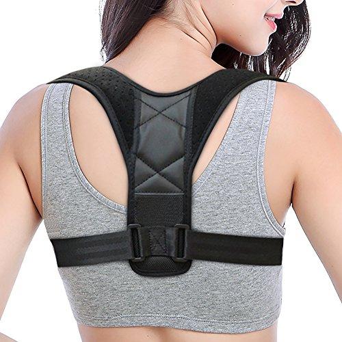 Back Posture Corrector for Women & Men, Back Adjustable Brace-Discreet Design-, Upper Back Straightener Clavicle Support for Slouching & Hunching (Black 1) by GraceFINE