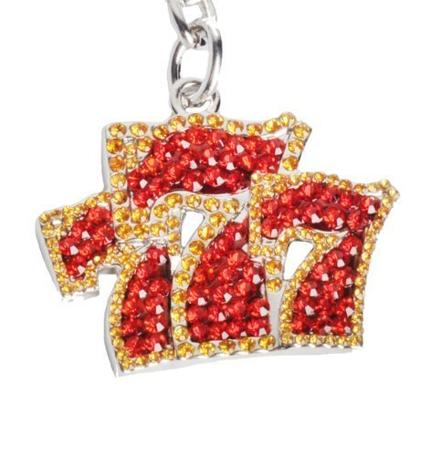 Lilly Rocket Red and Gold Triple Sevens Bling Key Chain Vegas Slot Machine with Swarovski Rhinestone Crystals