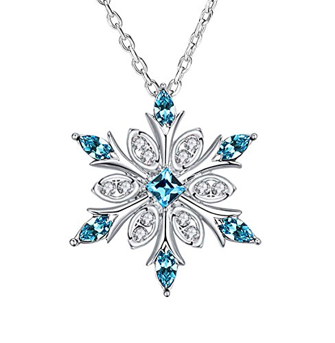 Elensan Women's 925 Sterling Silver Blue Crystals Snowflake Pendant Fashion Necklace Collarbone Chain