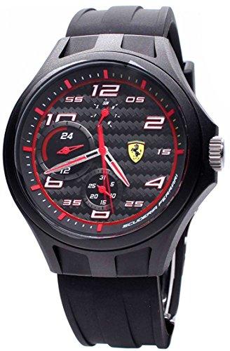 Ferrari Men's Quartz Plastic and Silicone Casual Watch, Color:Black (Model: 0830290)