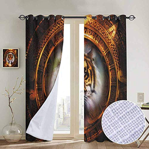 (NUOMANAN Bathroom Curtains Tiger,Ancient Mayan Calender Design with Big Hunter Cat Head Wise Feline Old Cultures, Pale Brown Gold,Room Darkening Waterproof Curtains for Bathroom 54