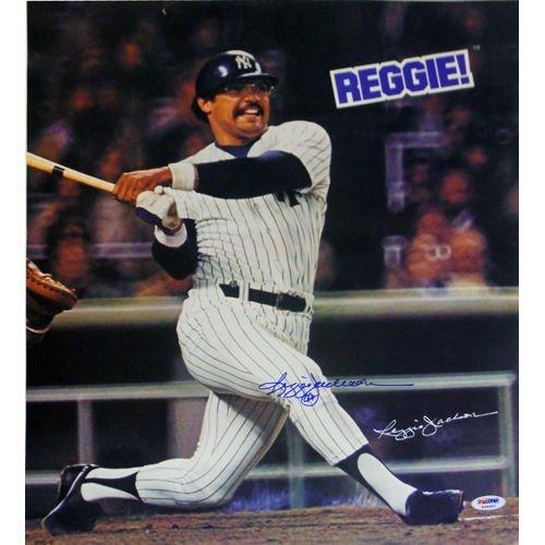 [REGGIE JACKSON SIGNED REGGIE CANDY BAR 15x17 PROMO POSTER NEW YORK YANKEES PSA] (Signed Photo Bar)
