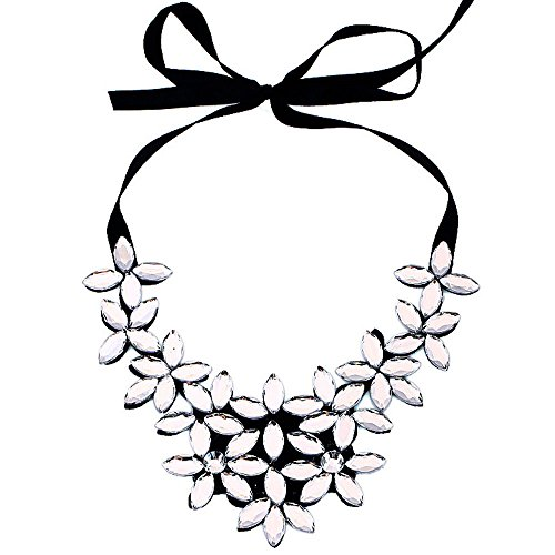 Gbell Womens' Flower Crystal Ribbon Ajustable Necklace Chain - Short Choker Pendant Chunky Collar Jewelry Gifts for Women Girls Lady,1Pcs,Black White Gold (White)