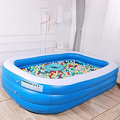 Family Inflatable Swimming Pool Inflatable Rectangular Swimming Pool Thickening Inflatable Pool for Kids Adult Outdoor Garden Backyard Summer Water Party Toy Round Pool: Home & Kitchen