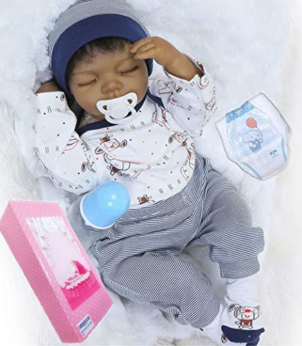 Search : NPKDOLL African American Doll Boy Realistic Reborn Baby Dolls Sleeping Lifelike Black Doll Soft Vinyl Silicone 22 Inches Handmade Reborn Babies Weighted Baby Eyes Closed
