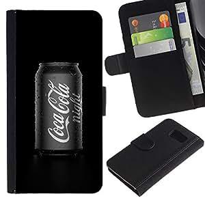 iBinBang / Flip Funda de Cuero Case Cover - Drink Soft Black White Pop Culture - Samsung Galaxy S6 SM-G920