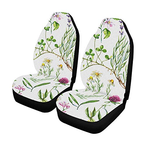 InterestPrint Hand Drawn Watercolor Seamless Botanical Pattern with Different Plants Auto Seat Covers Full Set of 2, Car Front Seat Cushion Fit Car, Truck, SUV or Van