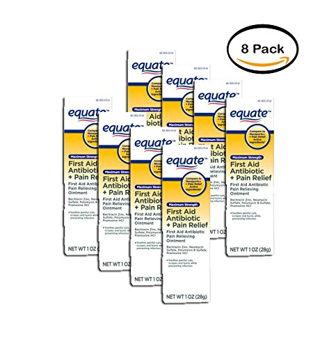 Strength First Aid Antibiotic Ointment - PACK OF 8 - Equate Maximum Strength First Aid Antibiotic & Pain Relief Ointment, 1 Oz