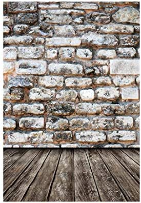 Laeacco Vinyl Thin Backdrop 5x7FT Photography Background Vintage Shabby Wall Grey Floor Backdrops Personal Portraits Shooting 1.5 m Photo Studio Props H x2.2 W