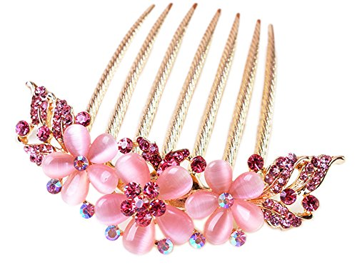 AnVei-Nao Womens Girls Rhinestones Flower Hair Combs Pins Hair Accessories (Nao Flower)