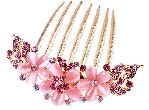 AnVei-Nao Womens Girls Rhinestones Flower Hair Combs Pins Hair Accessories (Nao Flower)