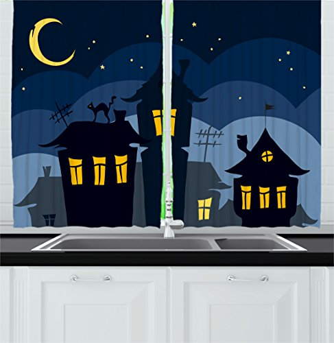 Halloween Kitchen Curtains by Ambesonne, Old Town with Cat on the Roof Night Sky Moon and Stars Houses Cartoon Art, Window Drapes 2 Panels Set for Kitchen Cafe, 55 W X 39 L Inches, Black Yellow Blue