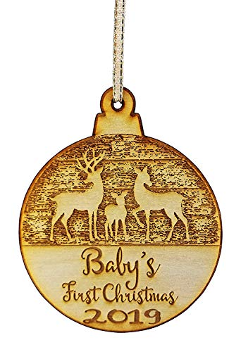 (Wedding Collectibles Baby's First Christmas Ornament (2019) Boy and Girl Tree Hanging Decoration | 1st Collectible Keepsake and Heirloom | Babies, Infants, Newborns | Vintage Birchwood Craftsmanship )