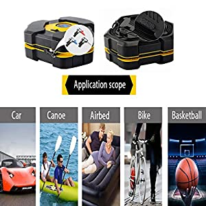 NOOX Tire Inflator Portable Air Compressor Electric Tire Pump 12v for Car SUV Motorbike Bicycle Air Mattresses Airboat Airbed Basketballs and Other Inflatables
