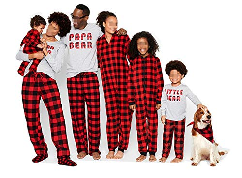 Matching Family Christmas Boys Girls Pajamas Papa Bear Letter Plaid Kids Sleepwear Children Clothes (MOM(L), Grey and Plaid)