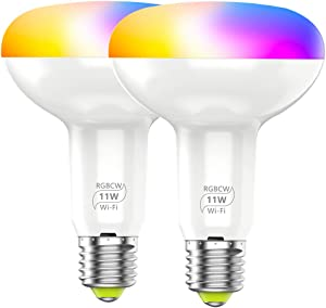 Smart WiFi Flood Light Bulbs Indoor BR30 E26 11W Color Changing (RGB & CCT) LED Bulb 2900K-6000K Compatible with Alexa, Google Assistant, No Hub Required Dimmable Indoor Flood Light(2 Pack)