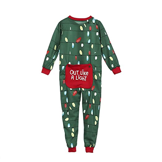 43d113d27621 Family Matching Christmas Pajamas Set Adult Kids Lights Romper Funny  Dropseat Onesie Sleepwear (Kids