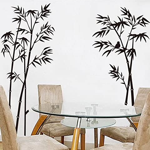 ORDERIN Christmas Gift Wall Decal Hot Sale Ink and Wash Painting Black Bamboo Tree Birds (Fucsia Bambù)