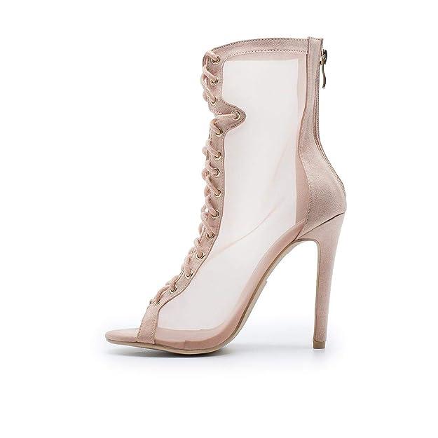 ZAPSHOP K587 Botin de Tacon con Transparencia de Tul y Cierre de Cordones para Mujer Color Rosa Palo: Amazon.es: Zapatos y complementos