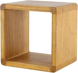 Jcnfa-Tables Wood Coffee Table with Low Storage Shelf Square Chinese Tea Table for Living Room Furniture (Side Table) (Color : Wood, Size : 15.7415.7415.74in)