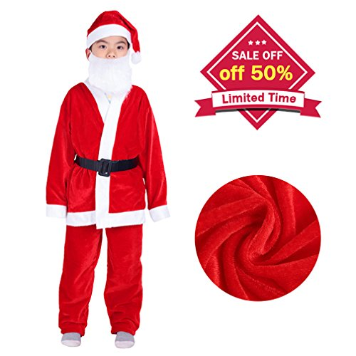 stumes For Boys Christmas Santa Suits Outfits For Kids (5-9 Years) (Child Outfit)