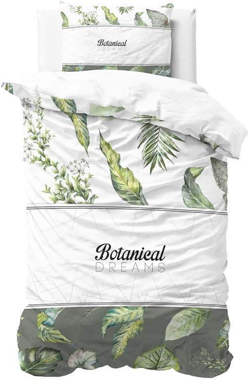 avec 1 taie doreiller 60cm x 70cm 140cm x 220cm SLEEP TIME Housse De Couette Coton R/êves Botaniques Blanc