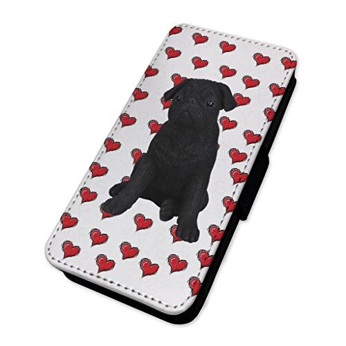 Nero Pug motivo cuori–Flip cover in pelle copertura di carta Apple Iphone X