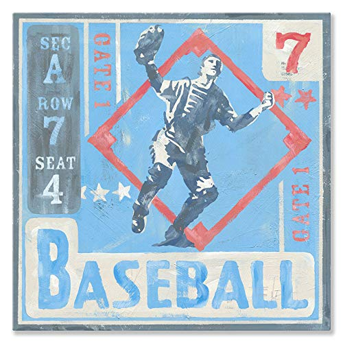 Oopsy Daisy Game Ticket - Baseball Canvas Wall Art, 14x14, Blue ()