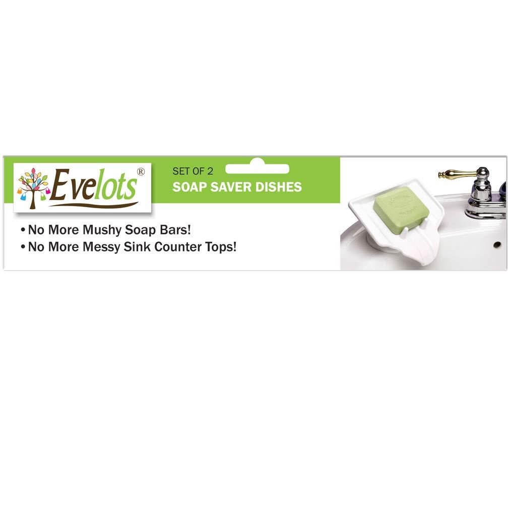 Evelots Soap Dish//Holder-Waterfall-Soap Saver//Dryer-Drain-No Mushy Soap Set//4