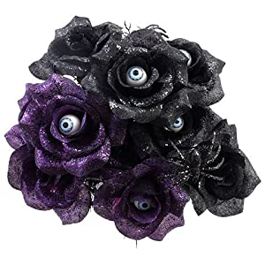 6 Stem Black and Purple Rose Bushes with Spiders and Eyeballs 14in (2) 90