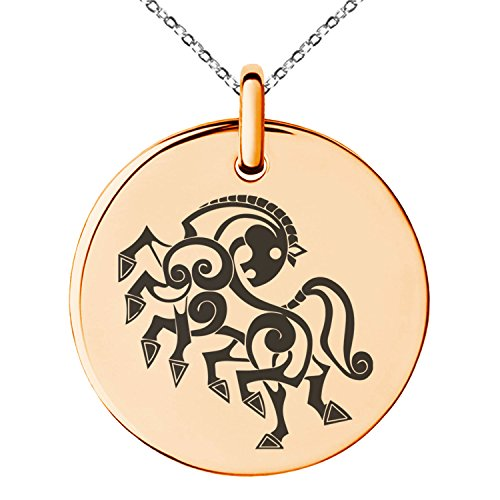 (Tioneer Rose Gold Plated Stainless Steel Odin's Sleipnir Horse Viking Norse Symbol Engraved Small Medallion Circle Charm Pendant Necklace)