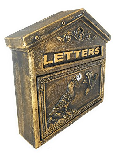 - Locking Wall Mounted Mailbox - Aluminum Bronze Vintage with Bird Design - Residential Locking Secure Letter Mail Box