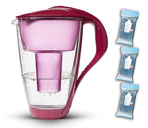 PearlCo Glas-Wasserfilter (rot) Starter-Paket inkl. 3 classic Filterkartuschen (kompatibel mit Brita® Classic)