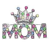 Multicolor Queen Princess Tiara Heart Mother's Day Mom Brooch Pin Multicolor Rhinestones