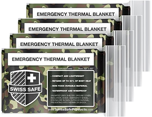 Swiss Safe Emergency Mylar Thermal Blankets (4-Pack) + Bonus Signature Gold Foil Space Blanket: Designed for NASA, Outdoors, Hiking, Survival, Marathons or First Aid (Woodland Camouflage) ()