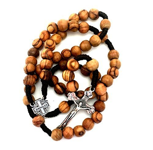 (Olive Wood Rosary - Christian Gift from Jerusalem, Traditional Cord Wooden Prayer Beads)