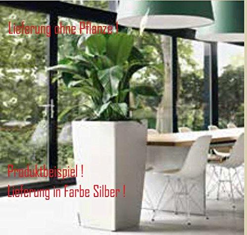 Blumenübertopf Cubico Premium, sonnen-und regenbeständig für Innen und Außen, inklusive Bewässerungssystem, Farbe Silber, ca. 30x30x56cm