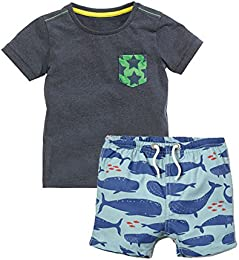 Little Boy Cartoon Car Dinosaur Whale Print Short Sleeve T-Shirt Shorts Set