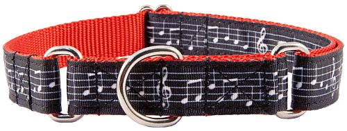 Country Brook Design Sheet Music on Red Ribbon Martingale Dog Collar - Extra Large