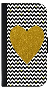 Black and White Chevrons with Hearts-Gold Print Heart - Wallet Case for the SAMSUNG GALAXY S5 i9600 ONLY!!!!!-PU Leather and Suede Wallet Iphone Case with Flip Cover that Closes with a Magnetic Clasp and 3 Inner Pockets for Storage