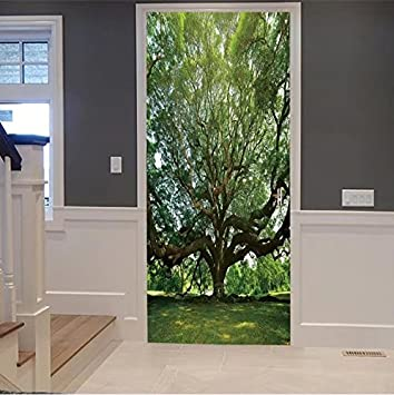 VROSELV 3d Door Wall Mural Wallpaper Stickers Large Samanea Saman Tree With  Branch In Kanch