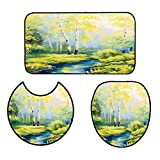 qianhehome Non-Slip Bathroom Rug Mats Set Lady Sitting in Front of French Cosmetic Make-Up Mirror Furniture Dressy Design Pink Yellow in Bathroom Accessories 16''x19''-D20-16''x24''