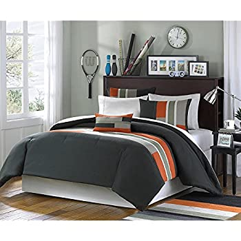 gray orange green stripe boys twin. Black Bedroom Furniture Sets. Home Design Ideas