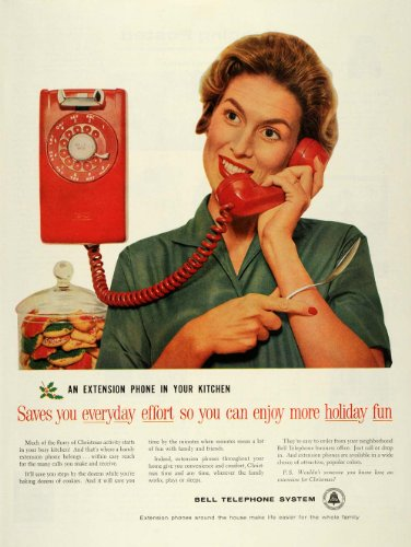 1959 Ad Bell Telephone System Extension Kitchen Phone Christmas Holly Cookies - Original Print Ad by PeriodPaper...